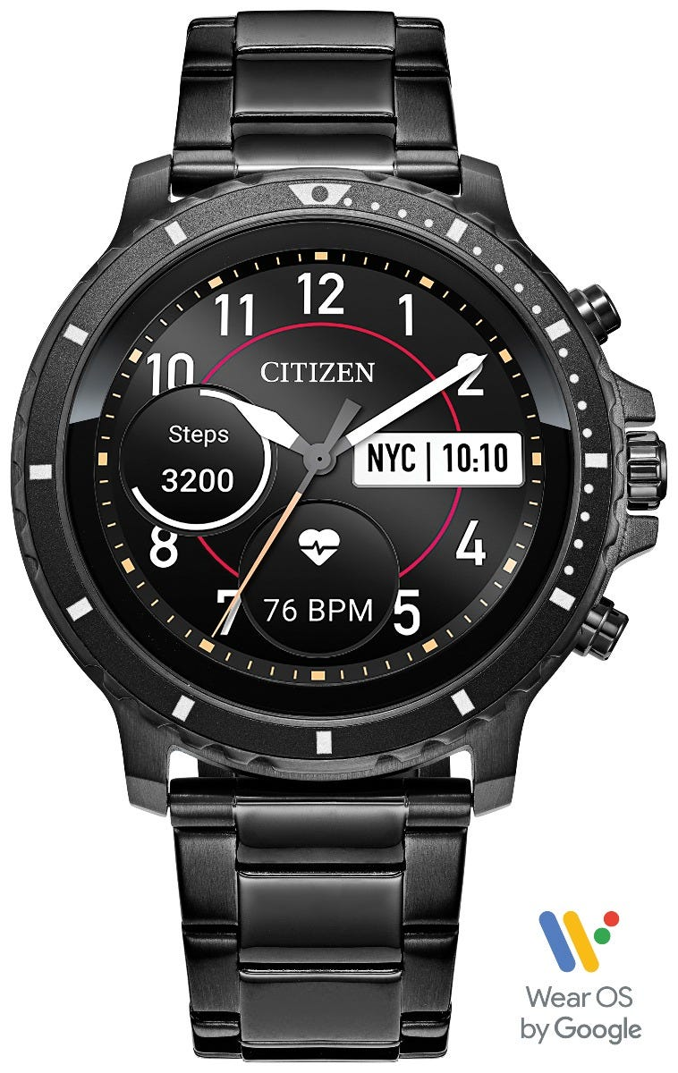 Citizen CZ Smart HR Heart Rate Gray Ion Plated Stainless Steel Smartwatch MX0007-59X, Powered by Wear OS