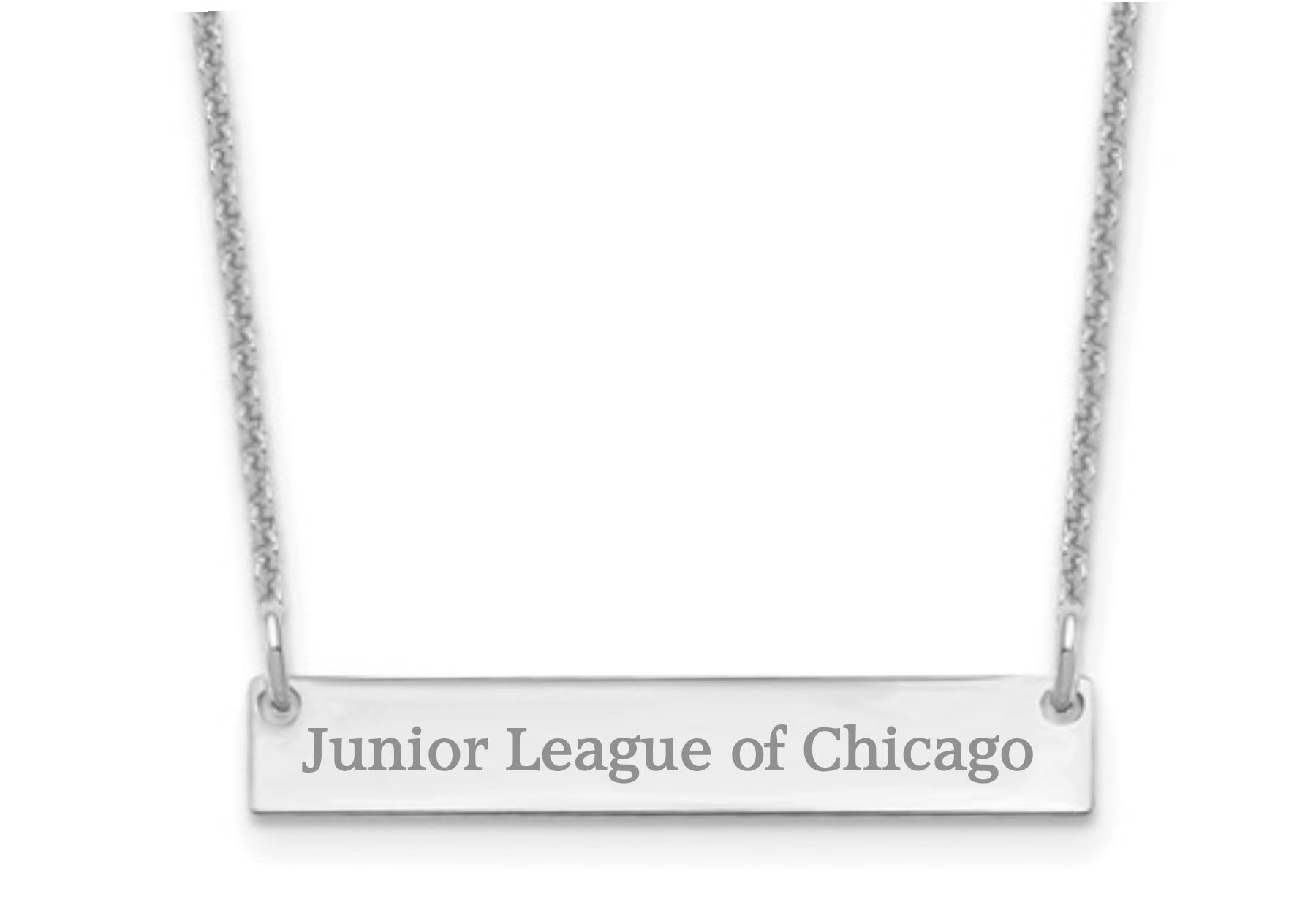 Junior League of Chicago Bar Necklace in 10k White Gold