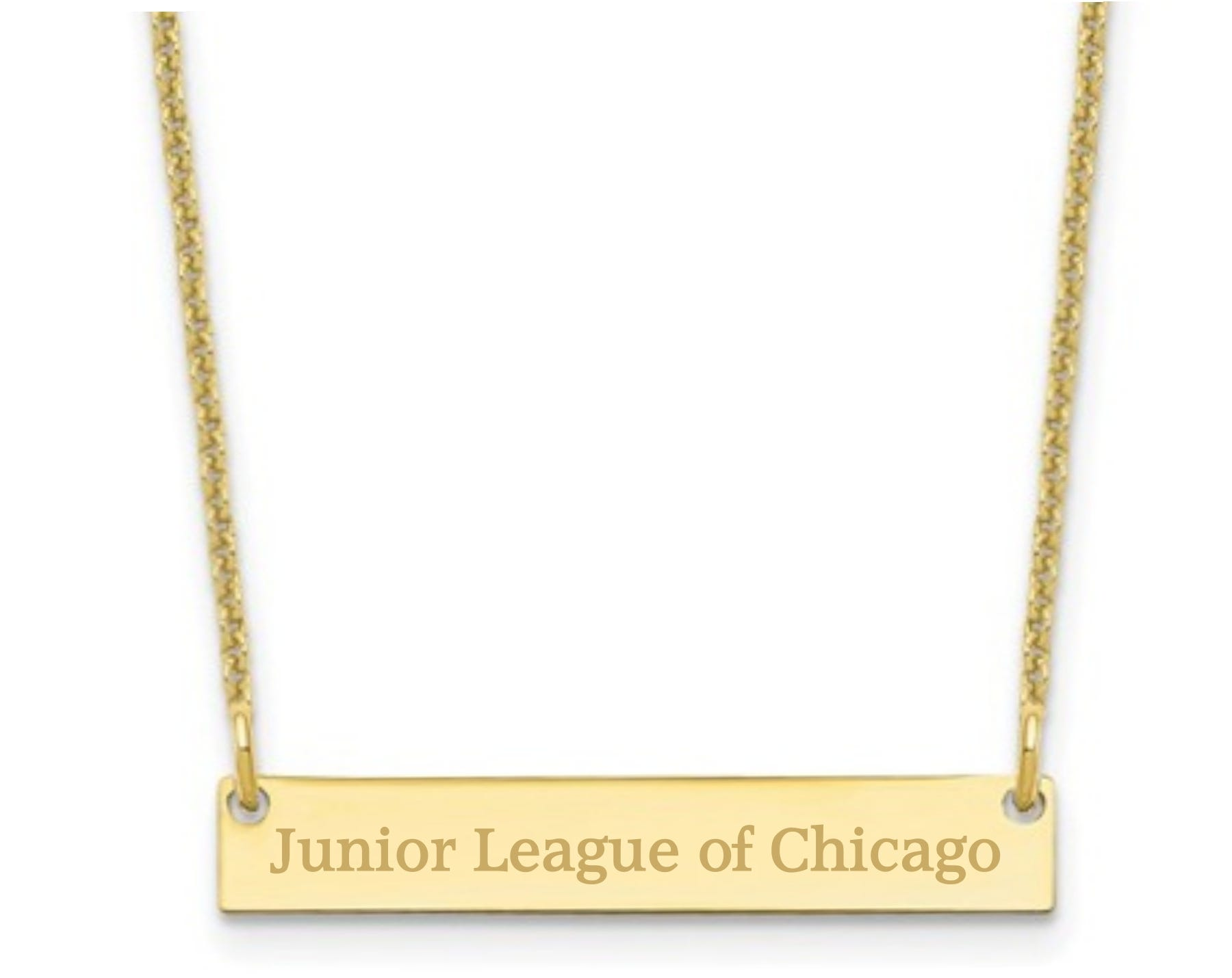 Junior League of Chicago Bar Necklace in 10k Yellow Gold