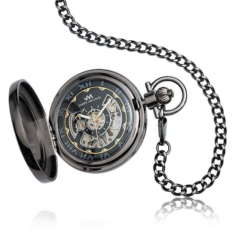 James Michael Satin Gunmetal Skeleton Dial Pocket Watch