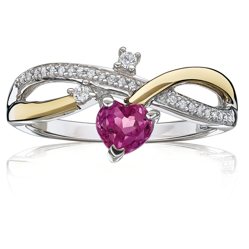 Created Pink Sapphire Heart Ring in Sterling Silver & Yellow Gold