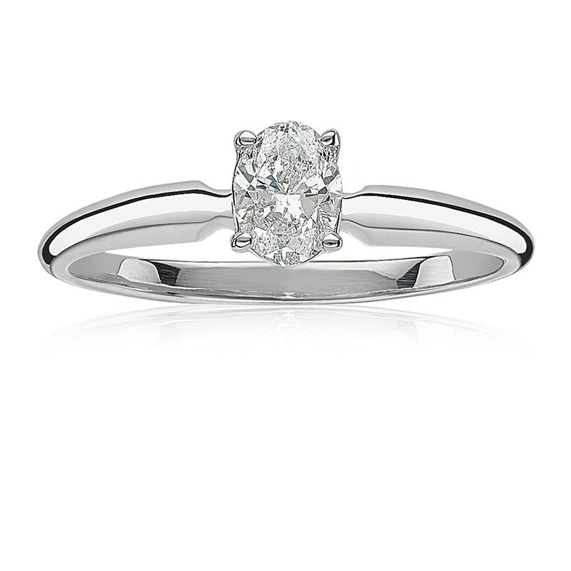 Lab Grown 3/4ct. Diamond Oval Solitaire Engagement Ring in 14k White Gold