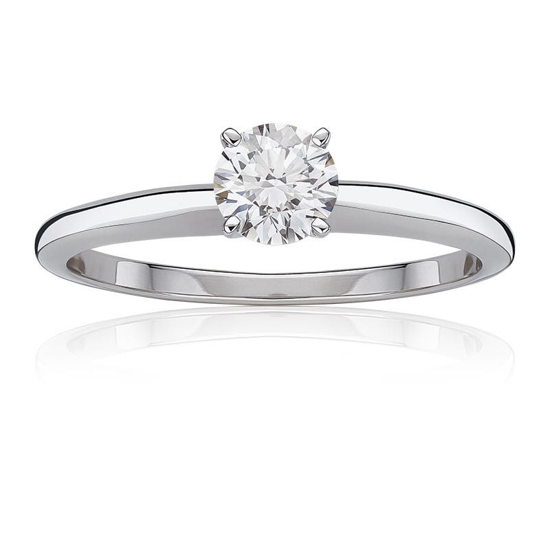 Lab Grown 1ct. Diamond Classic Round Solitaire Engagement Ring in 14k White Gold