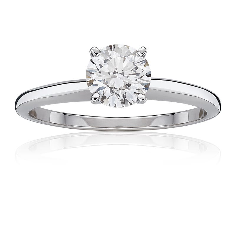 Lab Grown 1 1/4ct. Diamond Classic Round Solitaire Engagement Ring in 14k White Gold