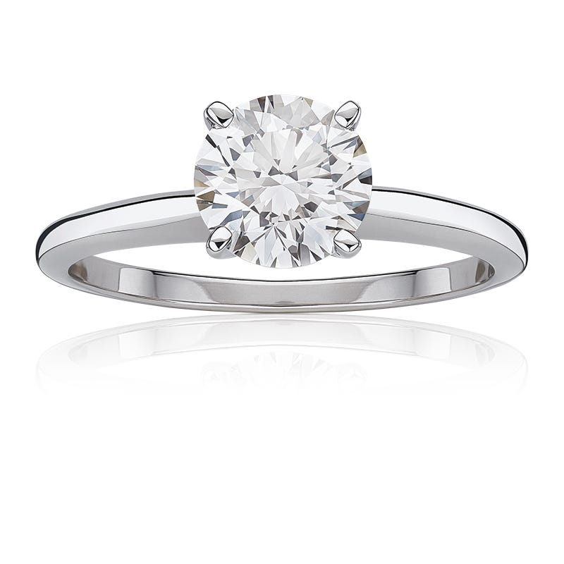 Lab Grown 1 1/2ct. Diamond Best Classic Round Solitaire Engagement Ring in 14k White Gold