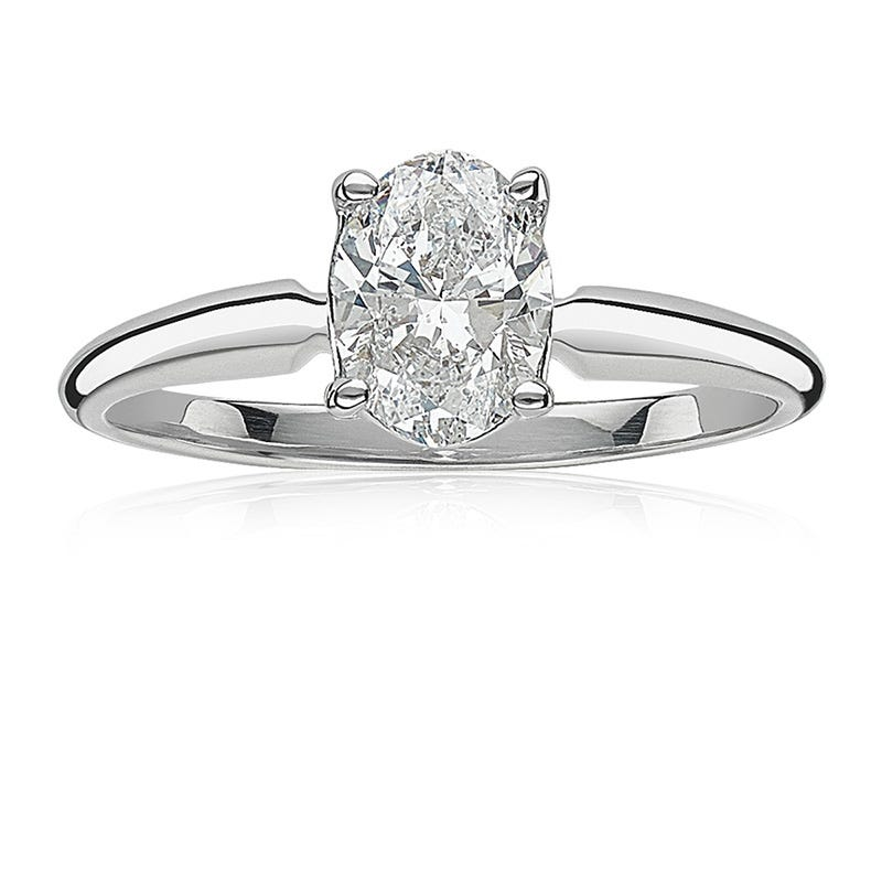 Lab Grown 1 1/2ct. Diamond Oval Solitaire Engagement Ring in 14k White Gold