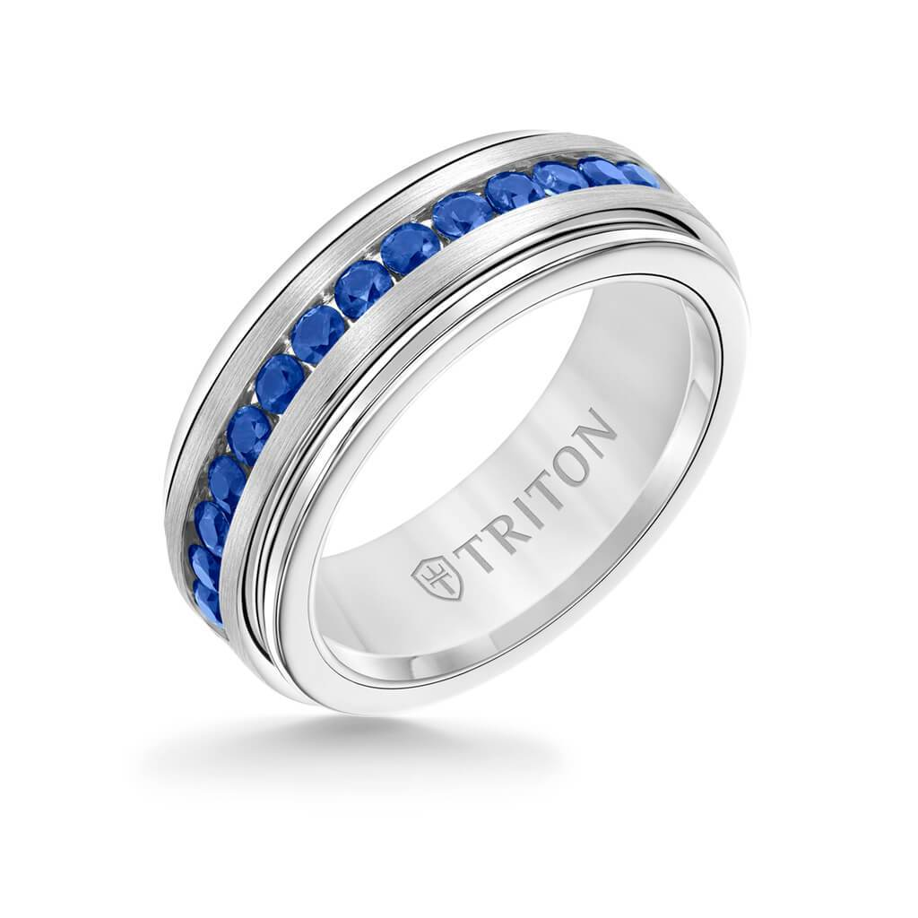 Triton Blue Sapphire Stone Center 8MM Silver Satin Finish Wedding Band