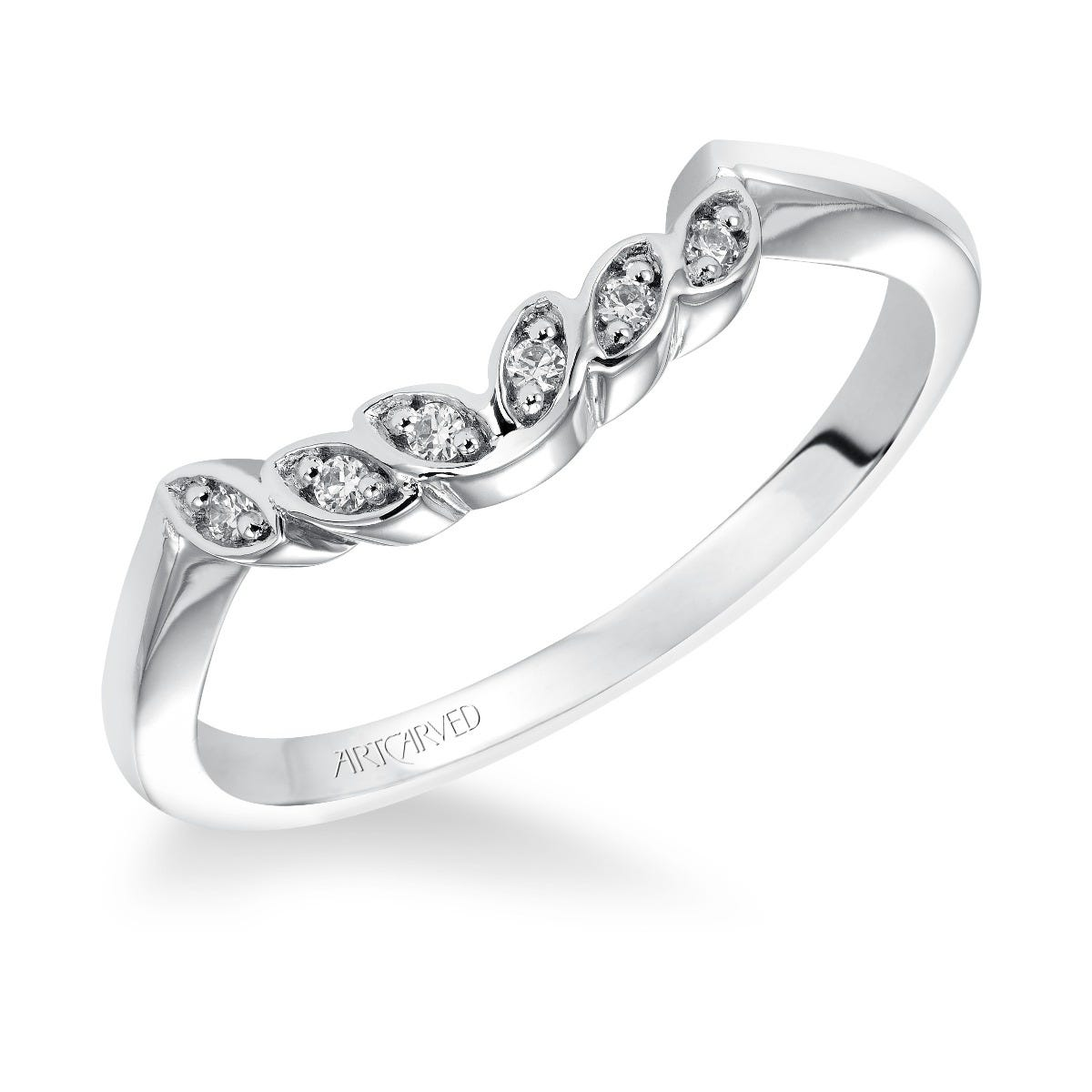 Corrine. ArtCarved® Diamond Floral Wedding Band in 14k White Gold
