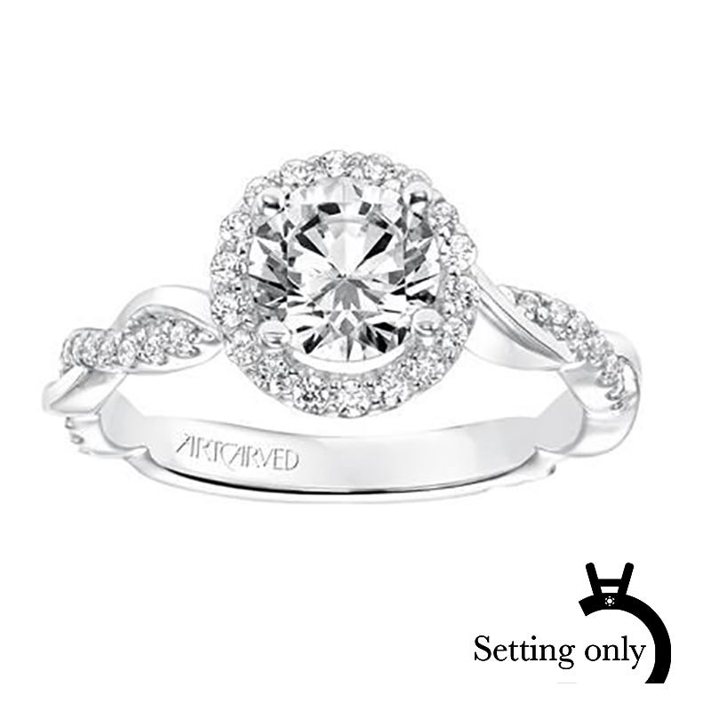 Kinsley. ArtCarved Semi-Mount in 14k White Gold