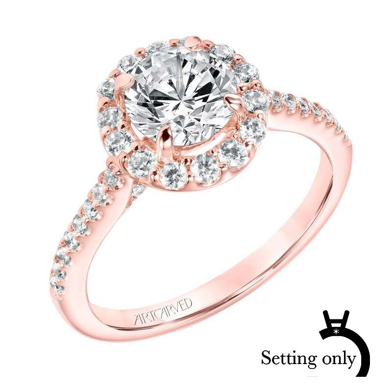 Judith. ArtCarved Diamond Semi-Mount in 14k Rose Gold