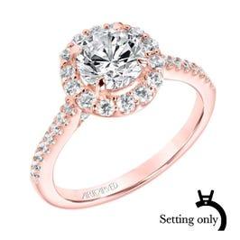 Judith. ArtCarved Diamond Semi-Mount in 14k Rose Gold