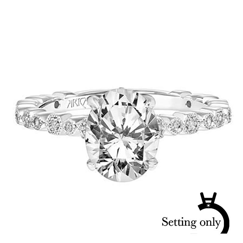 Louisa. ArtCarved Diamond Semi-Mount in 14k White Gold