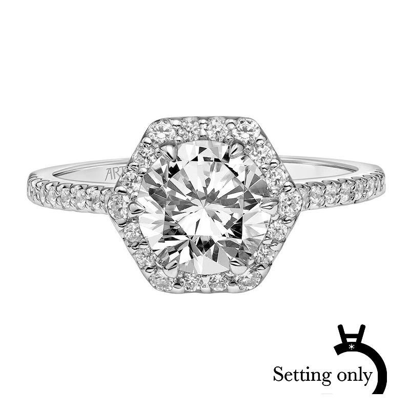 Lorelei. ArtCarved Diamond Semi-Mount in 14k White Gold
