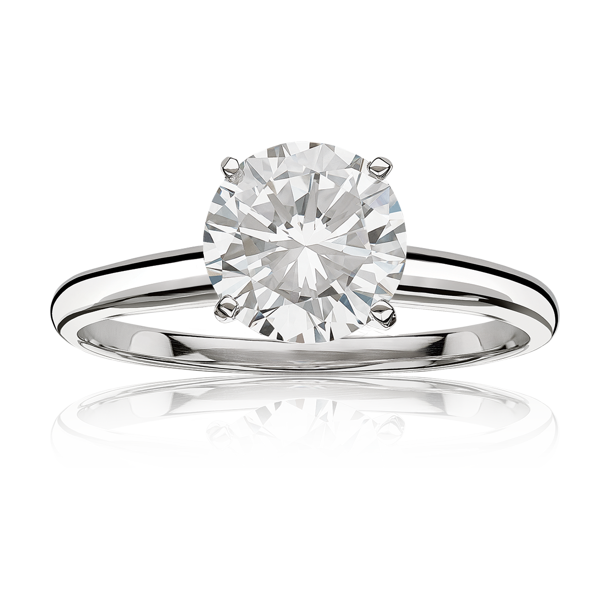 Lab Grown 2ct. Diamond Classic Round Solitaire Engagement Ring in 14k White Gold