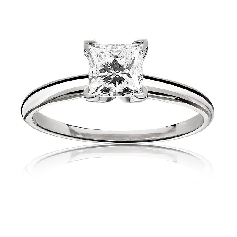 Lab Grown Diamond Princess-Cut 1 1/2ct. Classic Solitaire Engagement Ring
