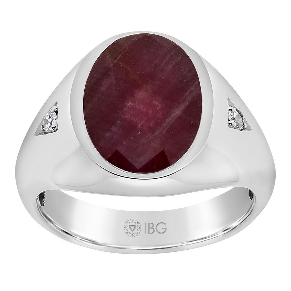 Men's Ruby Doublet & Diamond Ring in 10k White Gold