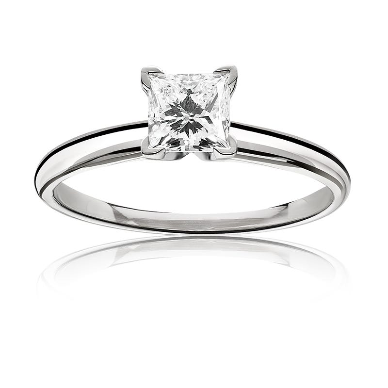 Lab Grown 1 1/4ct. Diamond Princess-Cut Classic Solitaire Engagement Ring in 14k White Gold