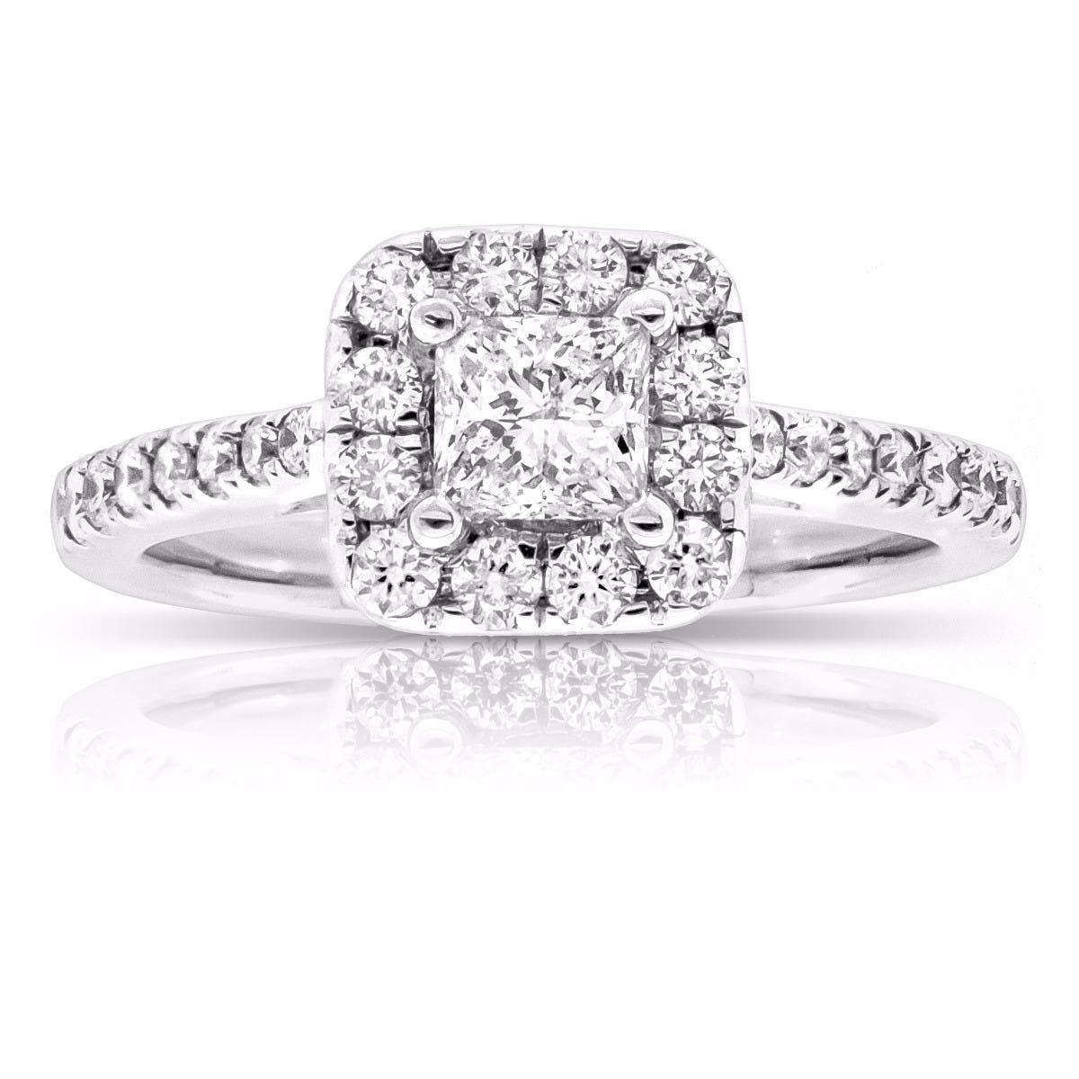 Lily. Princess-Cut Pavé Diamond Engagement Ring 14k White Gold