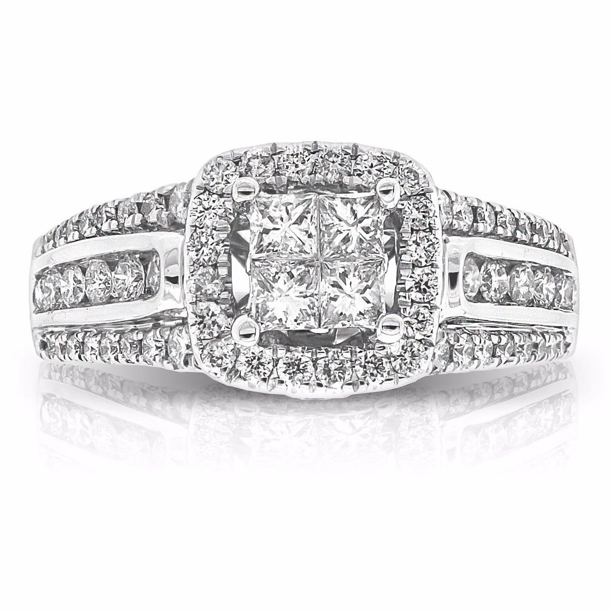 Oriana. Princess-Cut Pavé Diamond Quad Set Engagement Ring