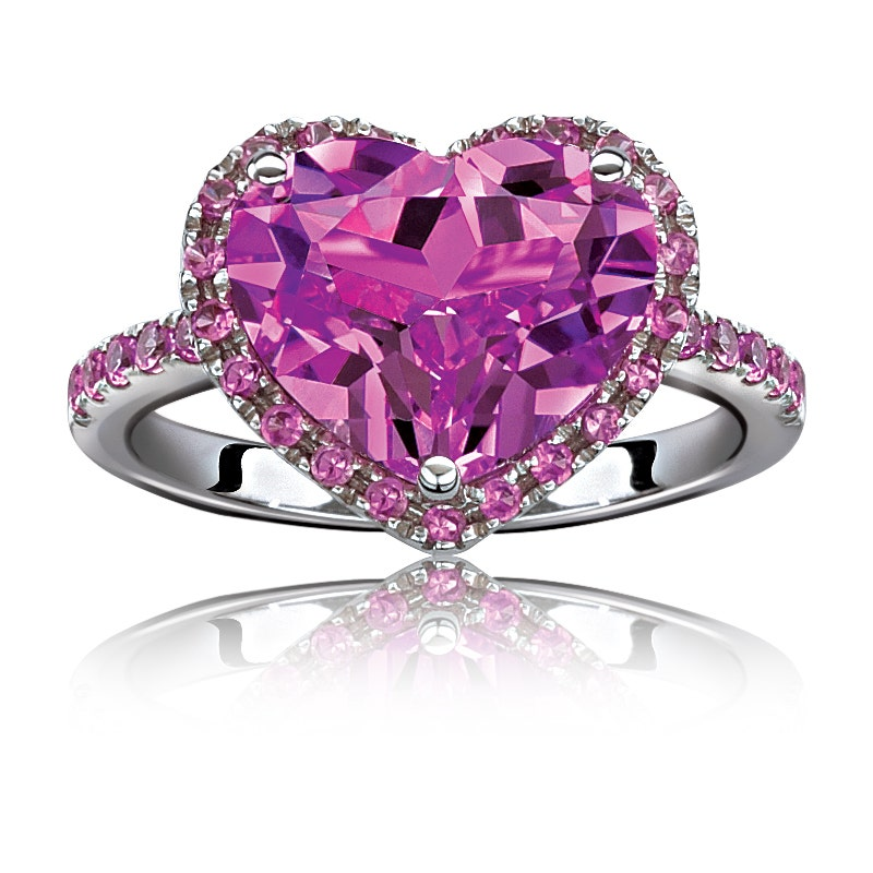 Created Pink and White Sapphire Two Hearts Ring in Sterling Silver