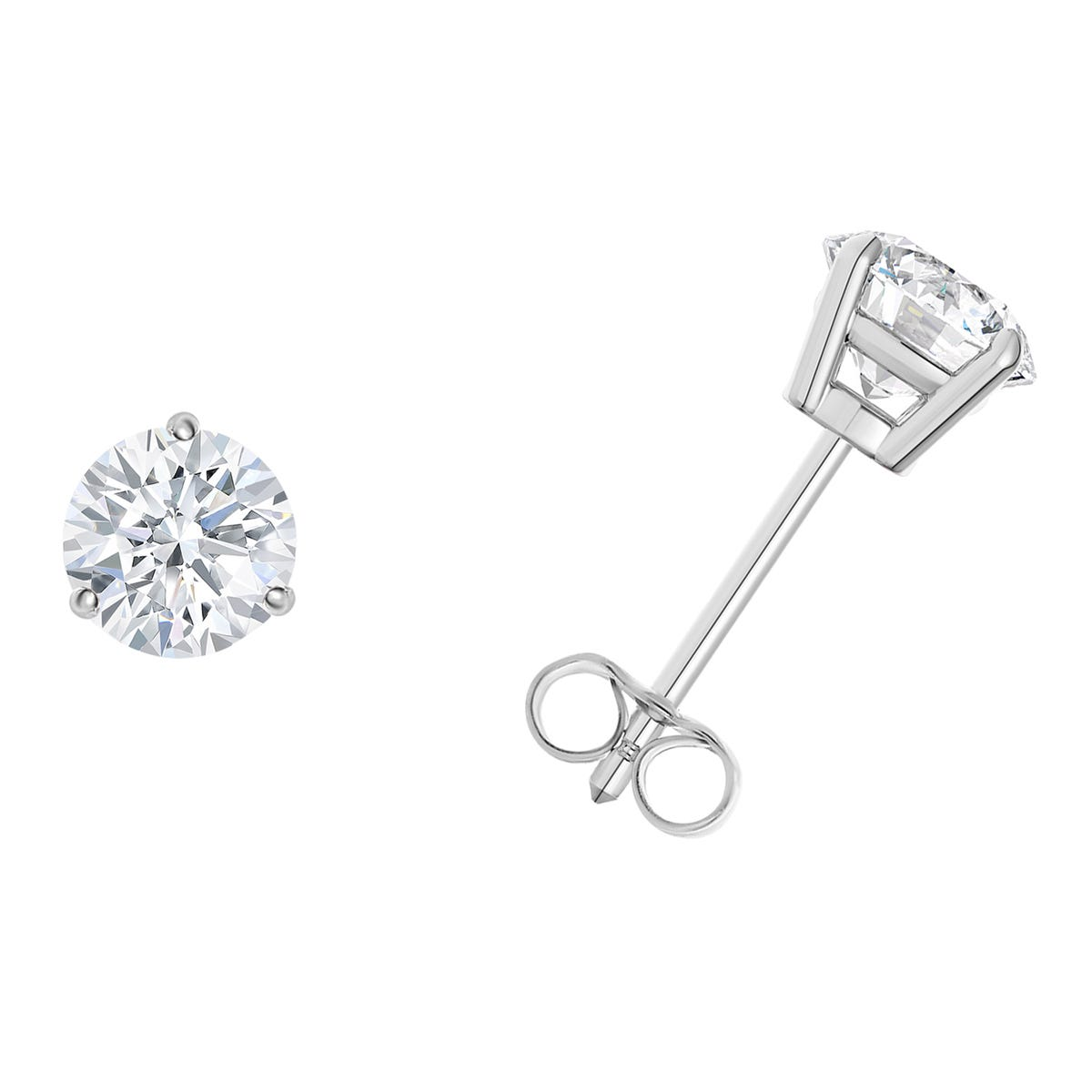 1/5 CTTW Round Diamond Solitaire Stud Earrings in 14K White Gold 3-Prong IGI Certified I2