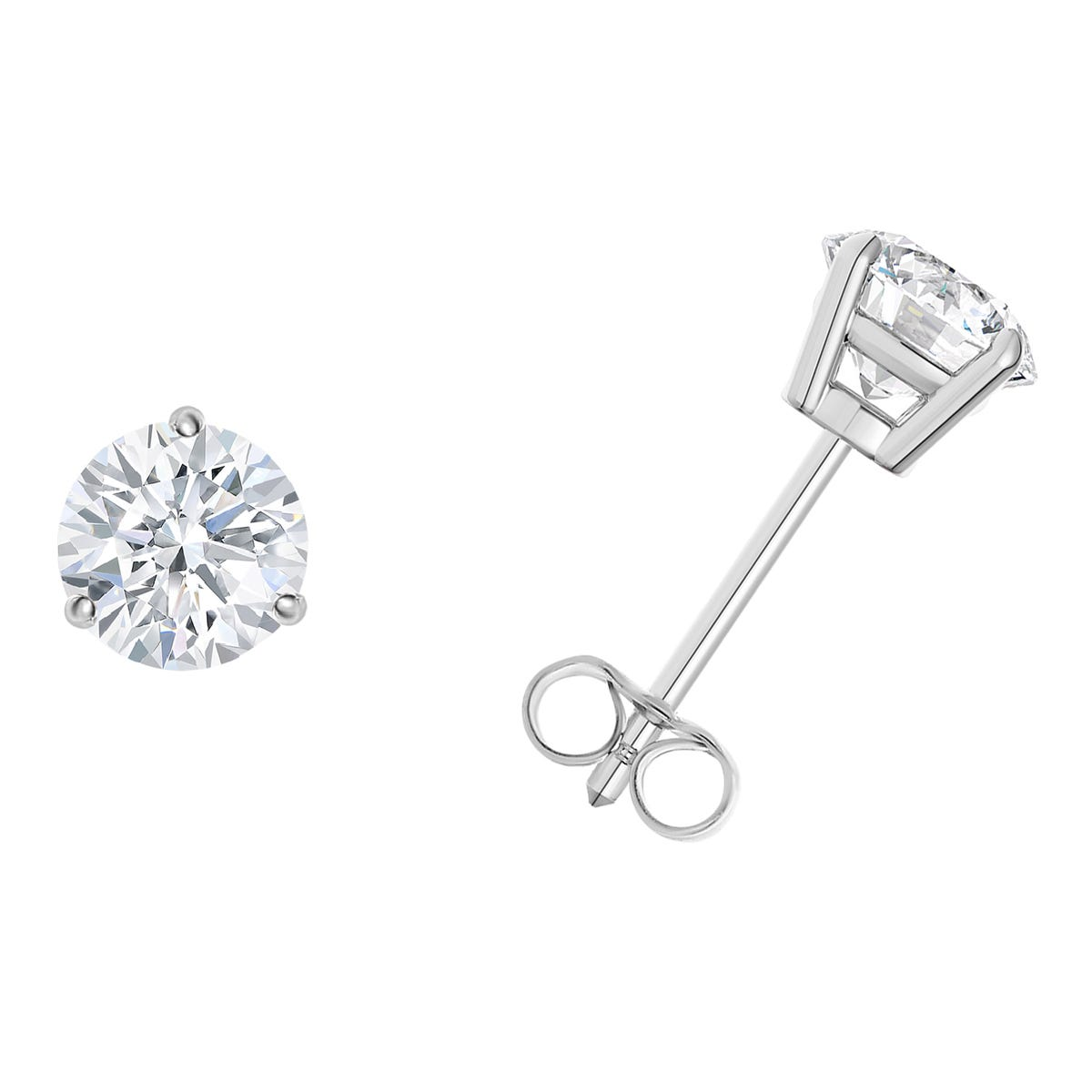 1/3 CTTW Round Diamond Solitaire Stud Earrings in 14K White Gold 3-Prong IGI Certified I2