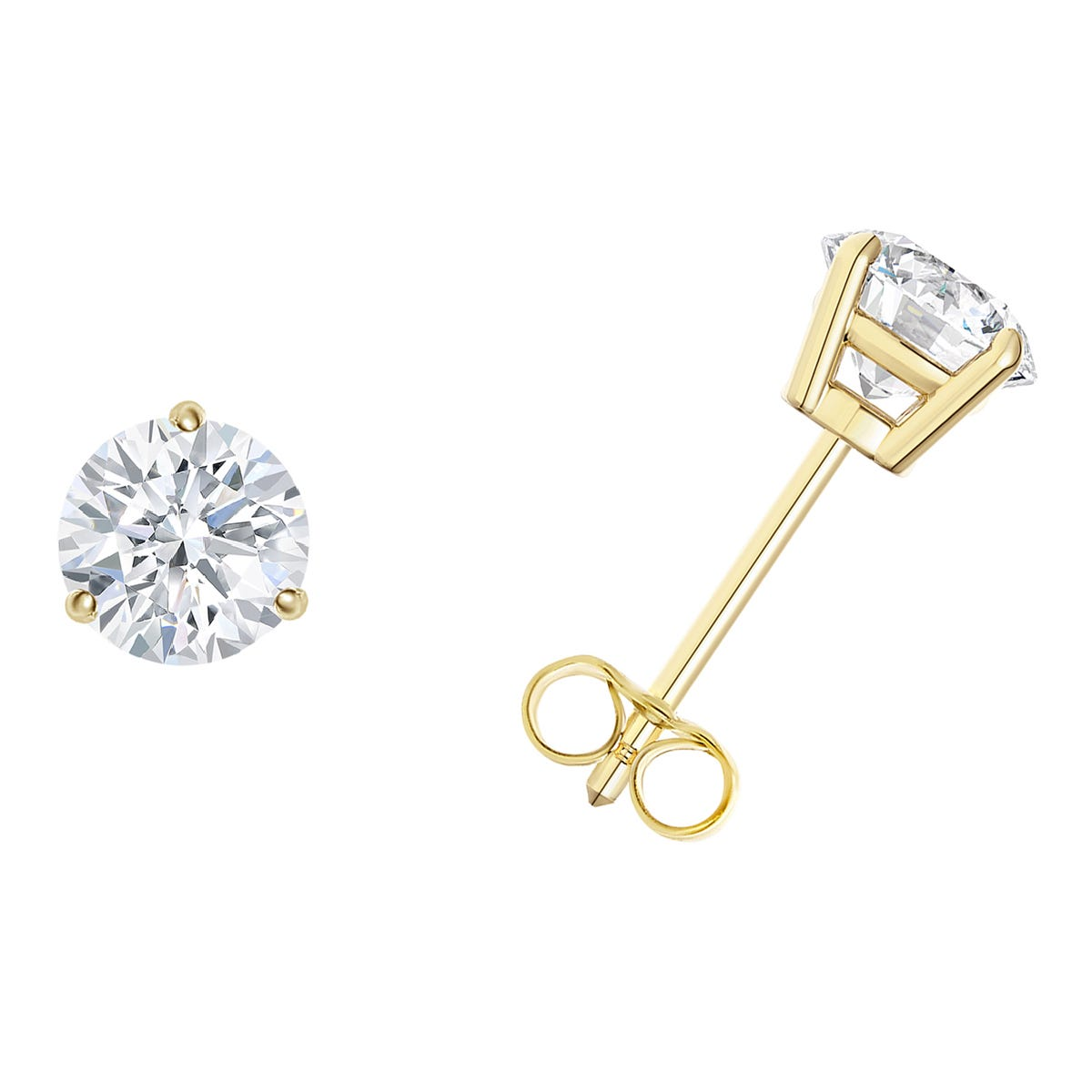 1/3 CTTW Round Diamond Solitaire Stud 3-prong Earrings in 14K Yellow Gold (I-I2) IGI Certified