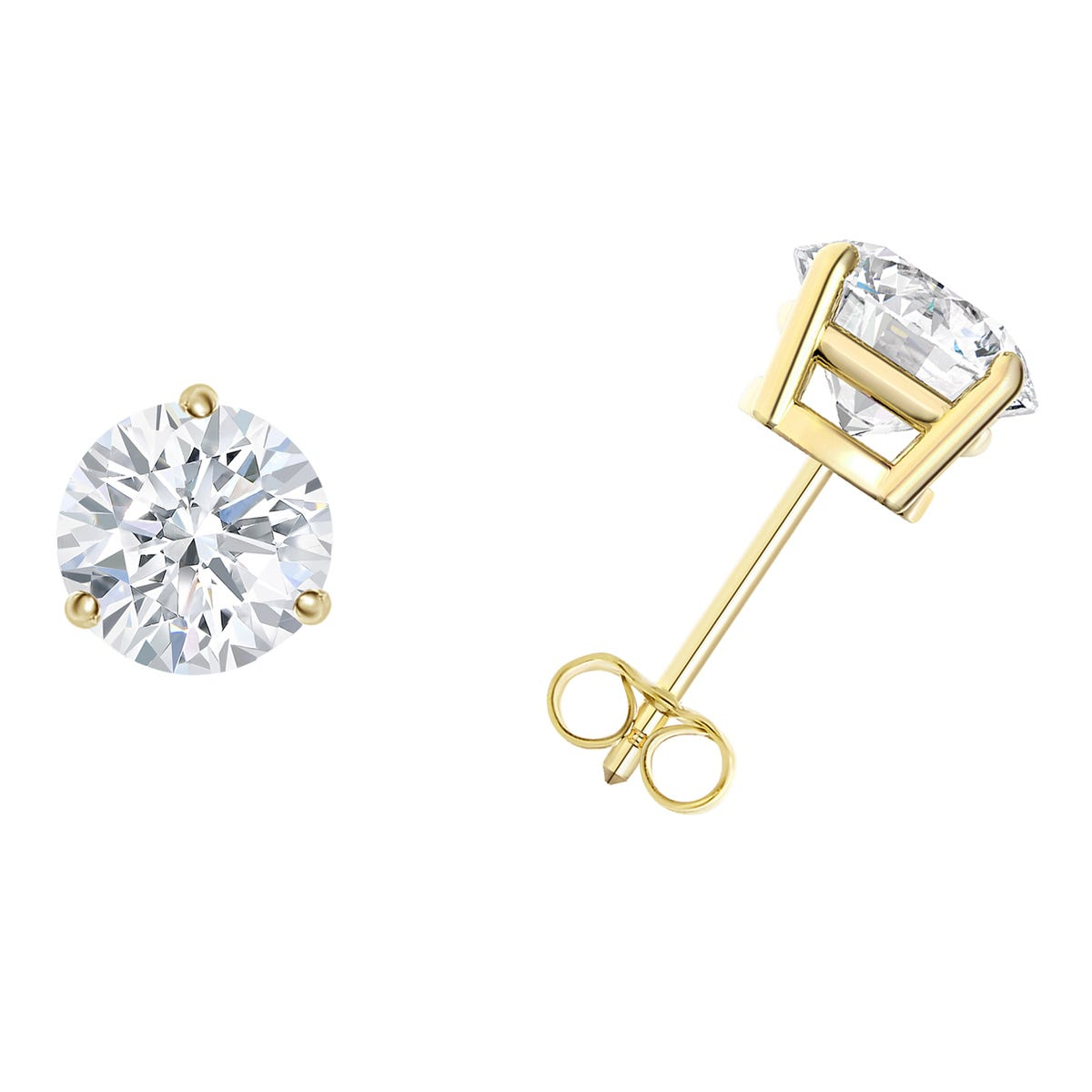 91d1c89a674e5 1-1/2 CTTW Round Diamond Solitaire Stud Earrings in 14K Yellow Gold 3-Prong  IGI Certified I2