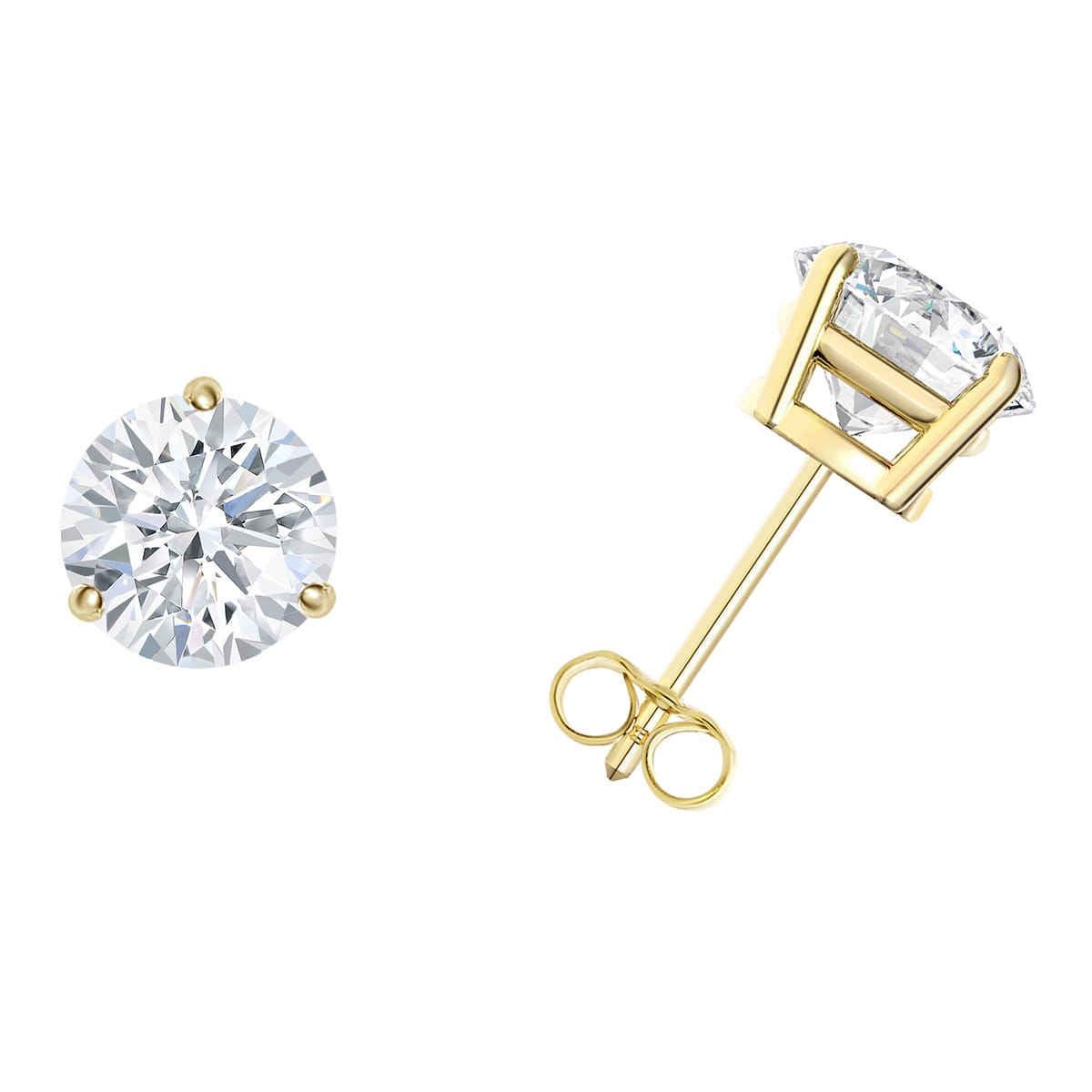 1 CTTW Round Diamond Solitaire Stud Earrings in 18K Yellow Gold 3-Prong IGI Certified SI2