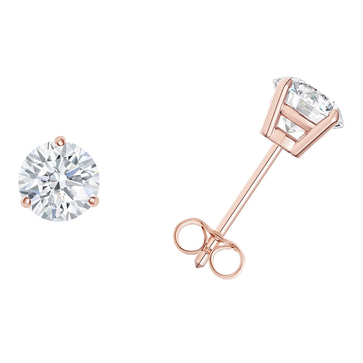 1/4 CTTW Round Diamond Solitaire Stud 3-prong Earrings in 18K Rose Gold (I-I2) IGI Certified