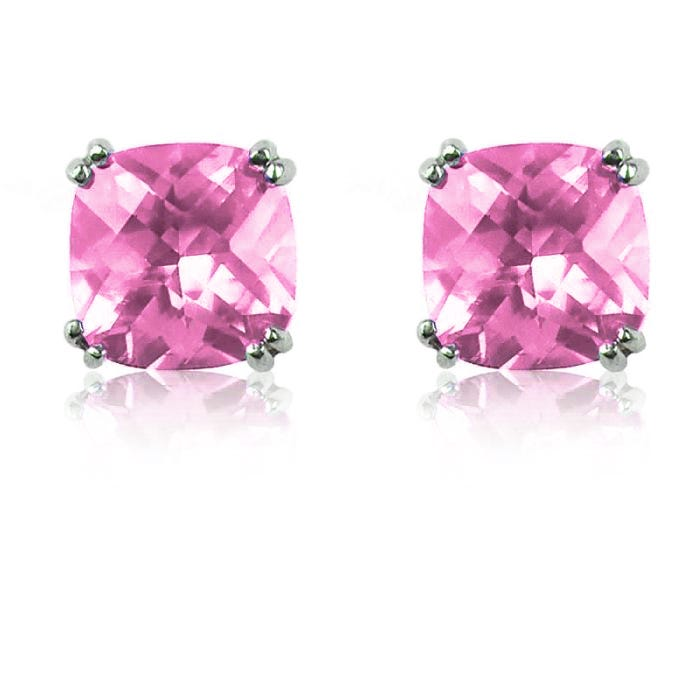 Created Pink Sapphire Cushion-Cut Stud Earrings in Sterling Silver