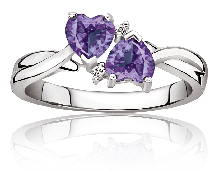 Double Heart Amethyst & Diamond Ring in Sterling Silver