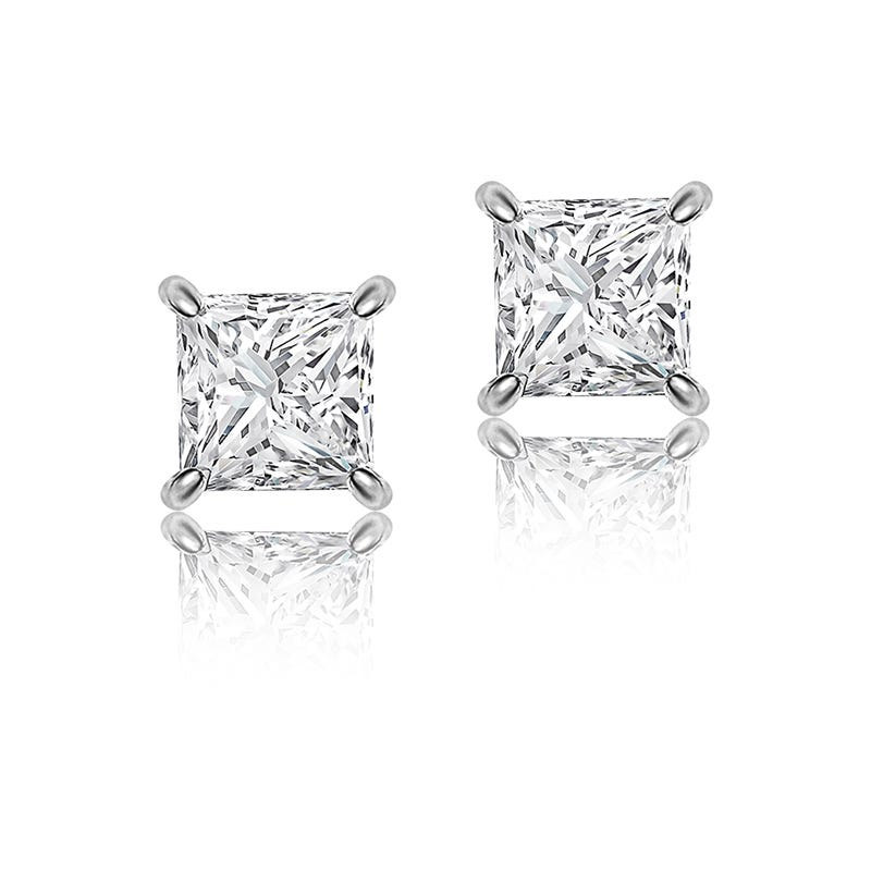 Princess-Cut Diamond Solitaire Earrings 1/2ctw. in 14k White Gold