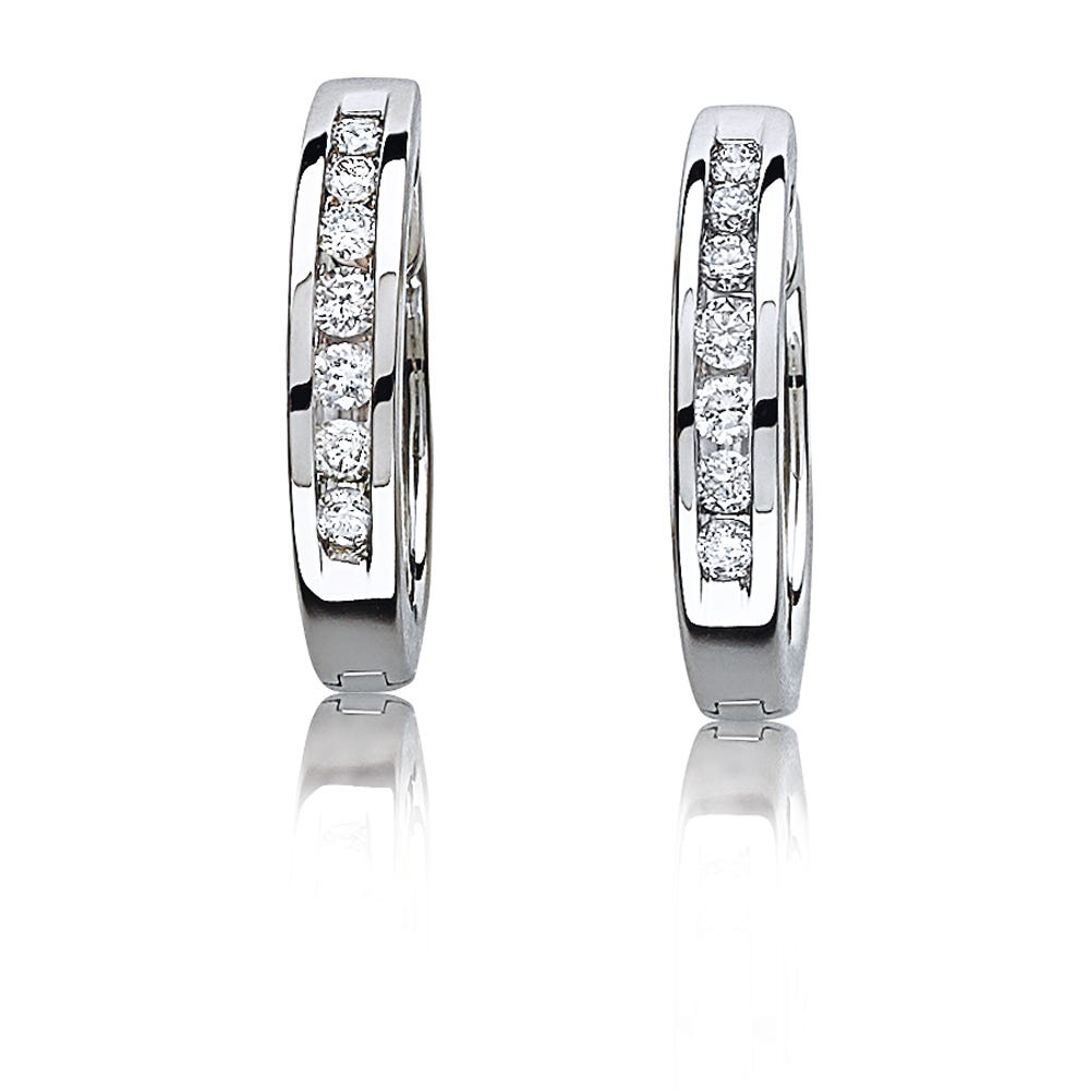 Channel-Set Round Diamond Hoop Earrings ¼ctw. in 10k White Gold