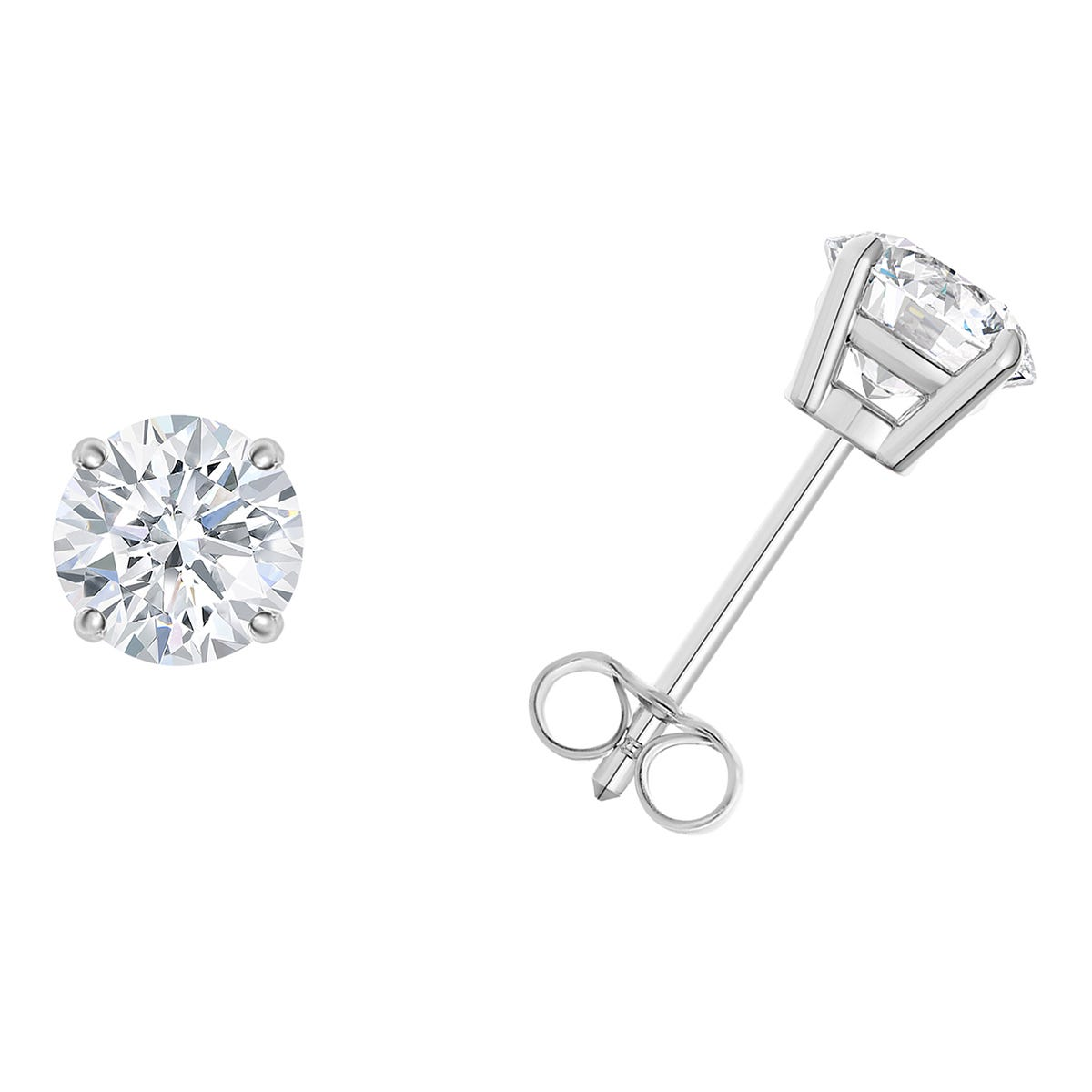 1/10 CTTW Round Diamond Solitaire Stud 4-prong Earrings in 10K White Gold (I-I2) IGI Certified