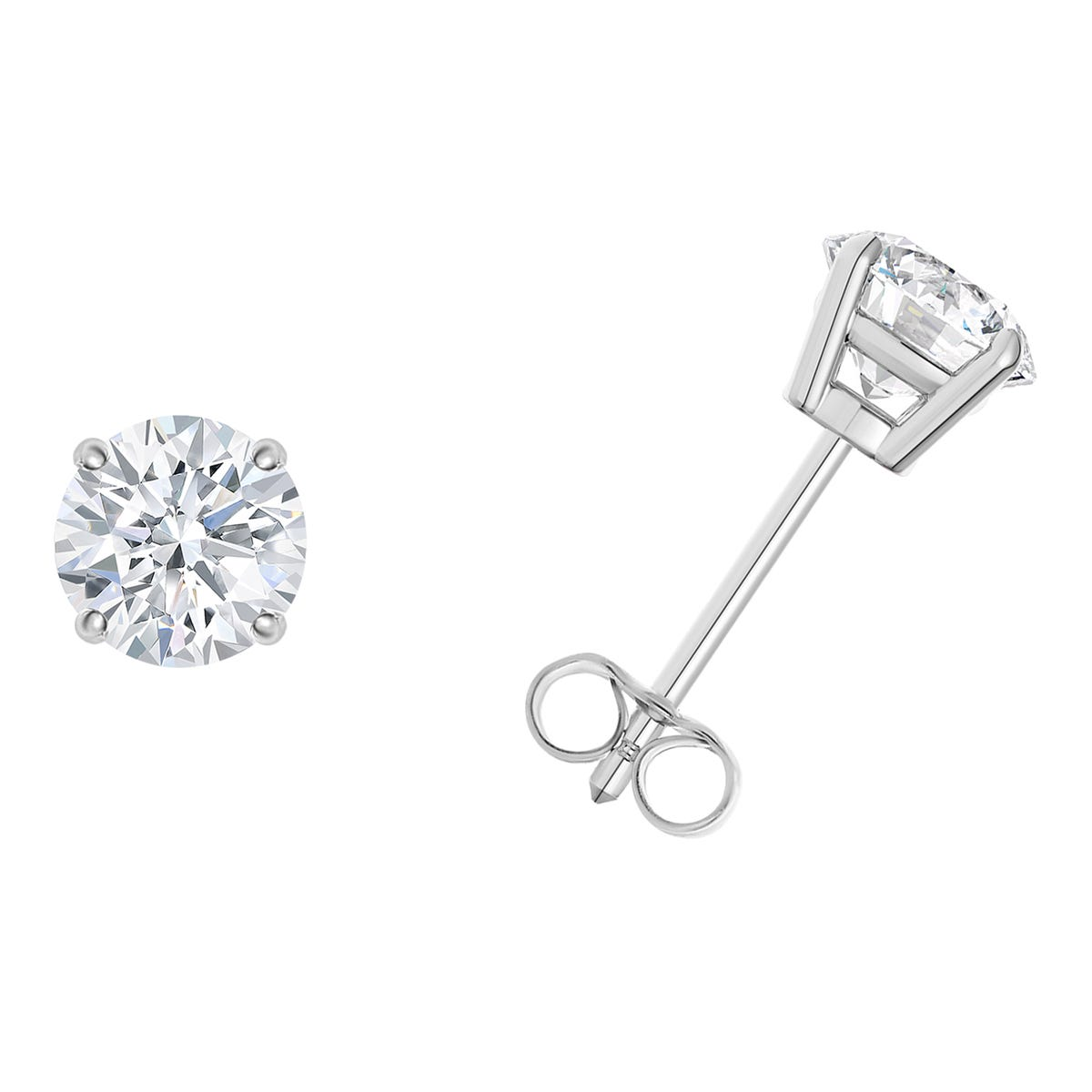 1/5 CTTW Round Diamond Solitaire Stud 4-prong Earrings in 10K White Gold (I-I2) IGI Certified