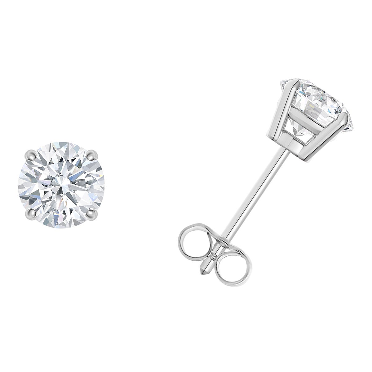 1/4 CTTW Round Diamond Solitaire Stud 4-prong Earrings in 10K White Gold (I-I2) IGI Certified