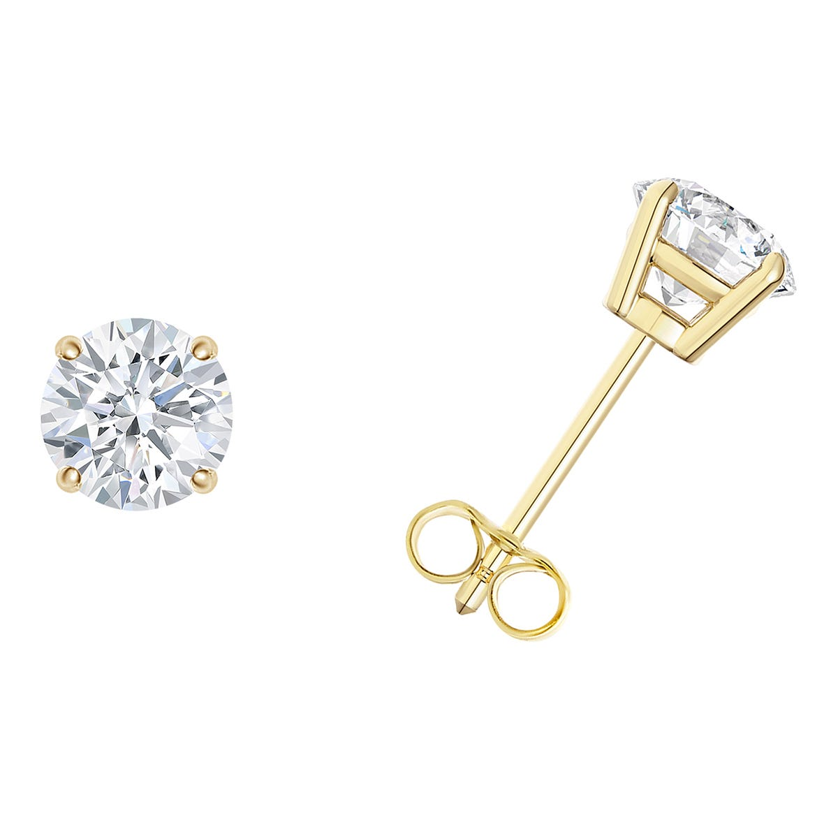1/10 CTTW Round Diamond Solitaire Stud Earrings in 10K Yellow Gold 4-Prong IGI Certified I2