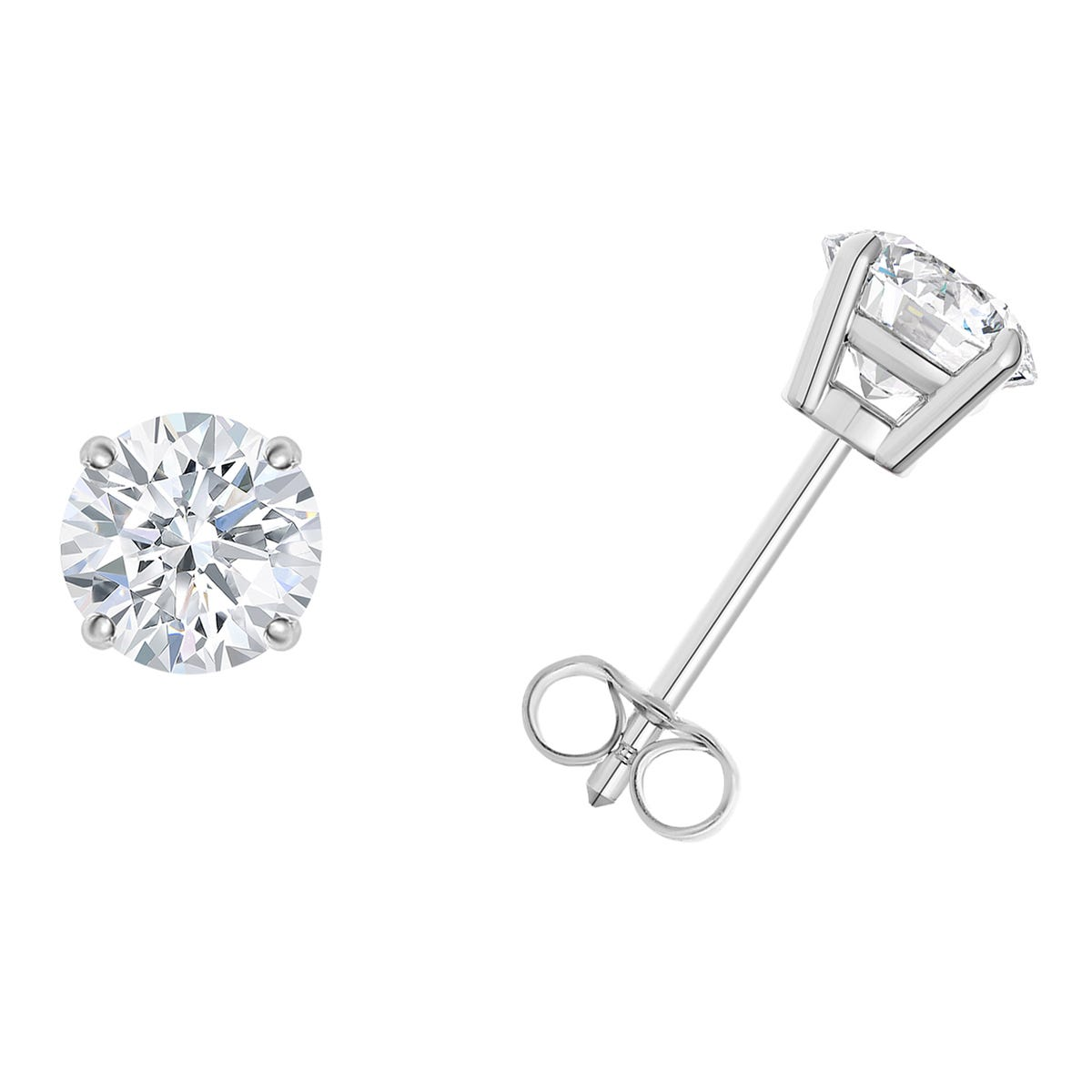 1/3 CTTW Round Diamond Solitaire Stud Earrings in 14K White Gold 4-Prong IGI Certified I2