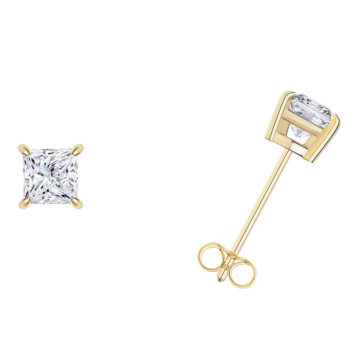 3/4 CTTW Princess Cut Diamond Solitaire Stud Earrings in 10K Yellow Gold IGI Certified