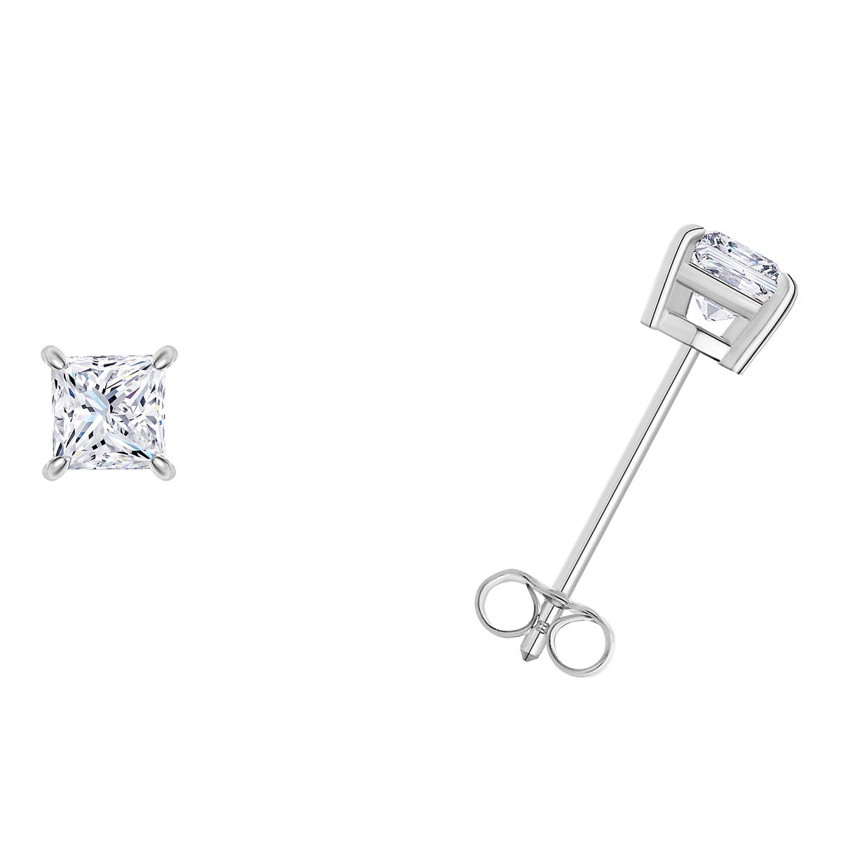 1/10 CTTW Princess Cut Diamond Solitaire Stud Earrings in 14K White Gold (I-I2) IGI Certified