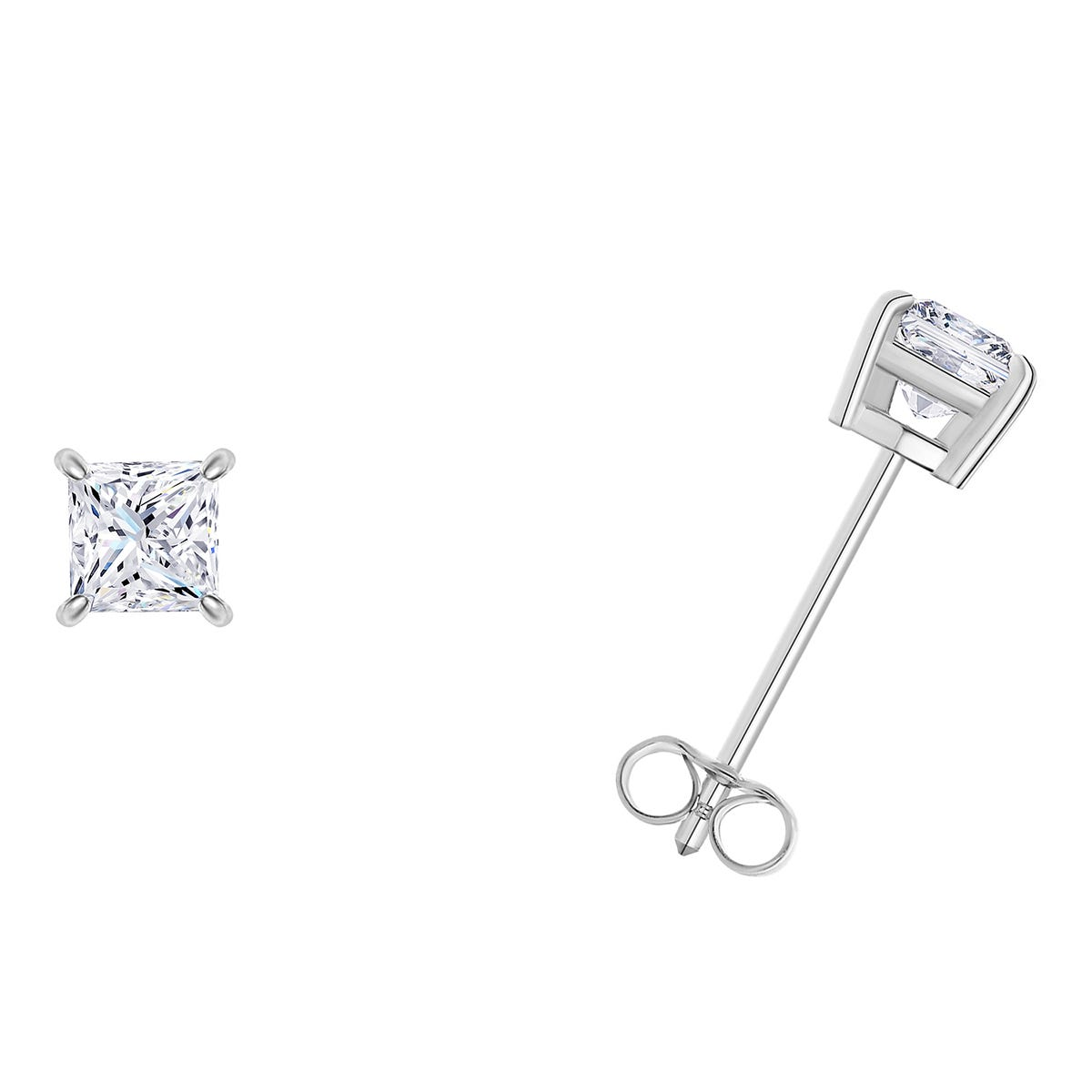 1/5 CTTW Princess Cut Diamond Solitaire Stud Earrings in 14K White Gold (I-I2) IGI Certified