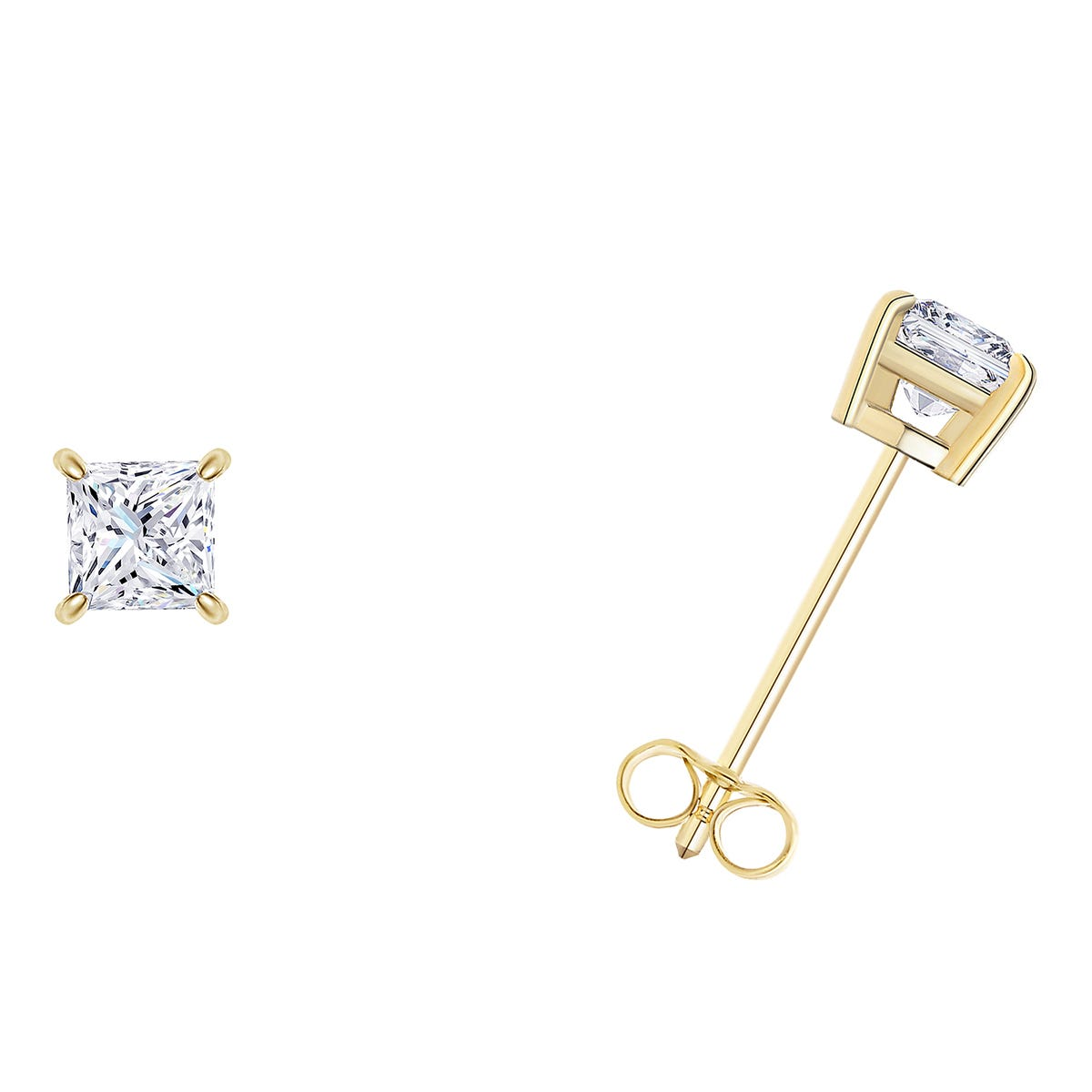 1/10 CTTW Princess Cut Diamond Solitaire Stud Earrings in 14K Yellow Gold 4-Prong (I-I2) IGI Certified