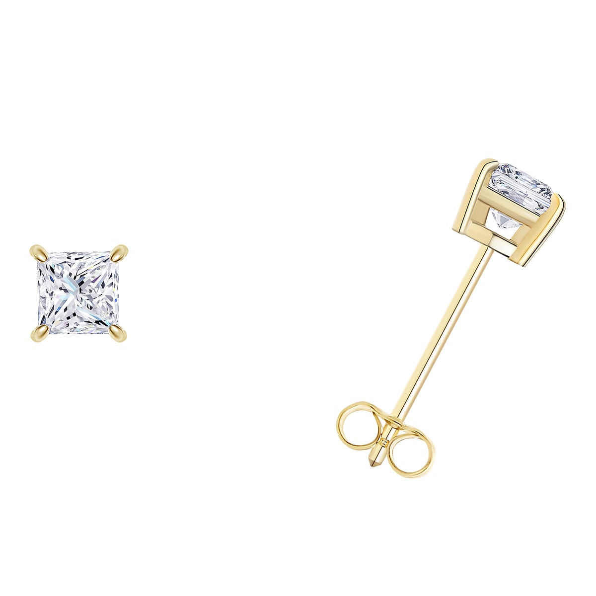 1/5 CTTW Princess Cut Diamond Solitaire Stud Earrings in 14K Yellow Gold 4-Prong IGI Certified I2