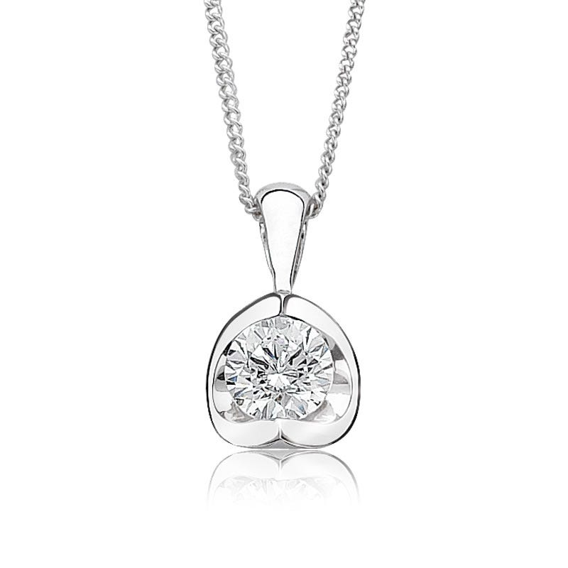 Canadian Diamond 1/10ct. Diamond Solitaire Pendant 14k White Gold