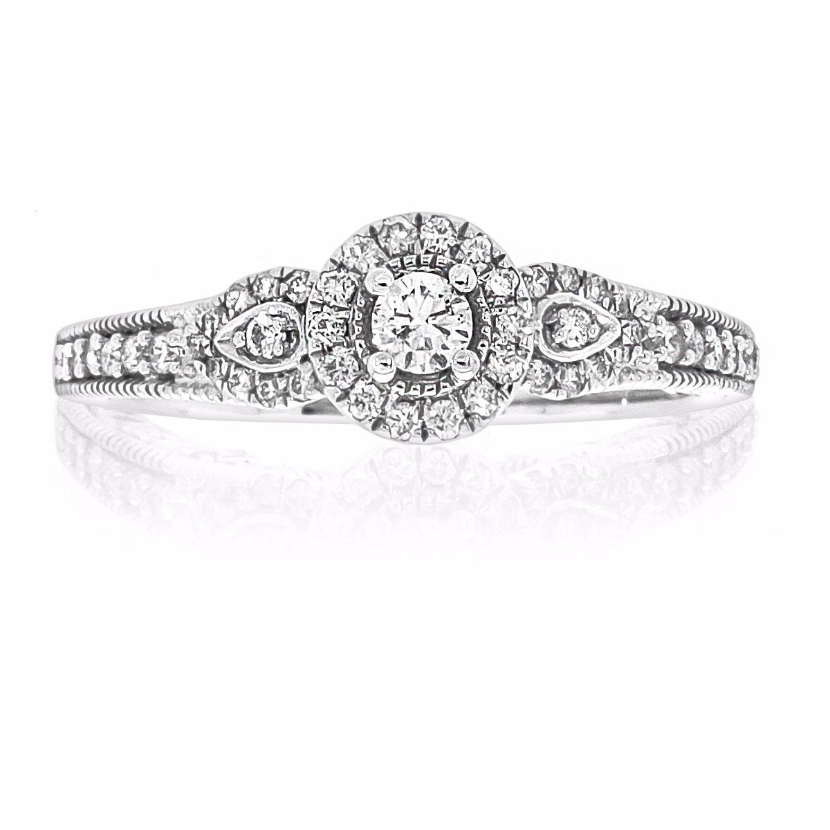 Abigail. Diamond Halo Engagement Ring in 14k Gold