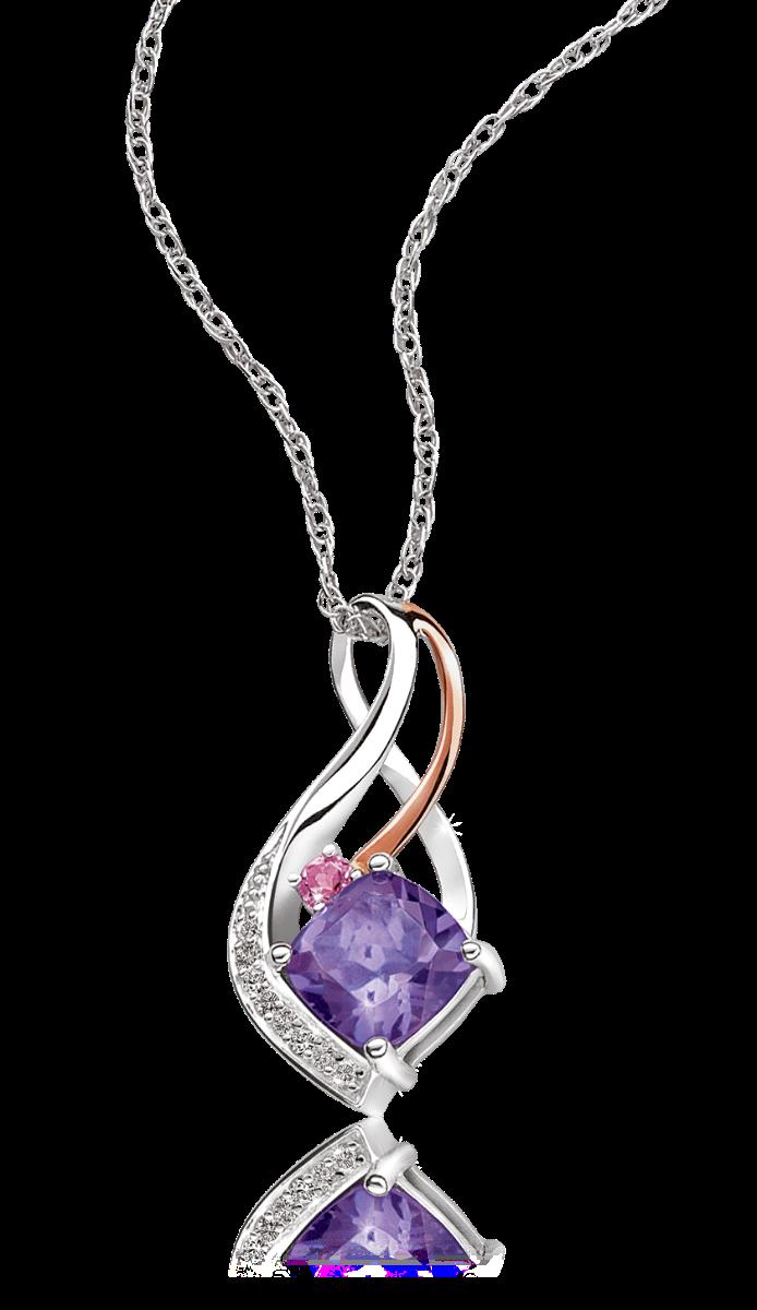 Amethyst, Pink Tourmaline & Diamond Pendant