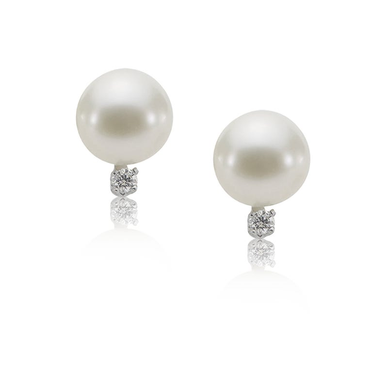 Imperial Pearl Freshwater Pearl & Diamond Stud Earrings in 10k White Gold