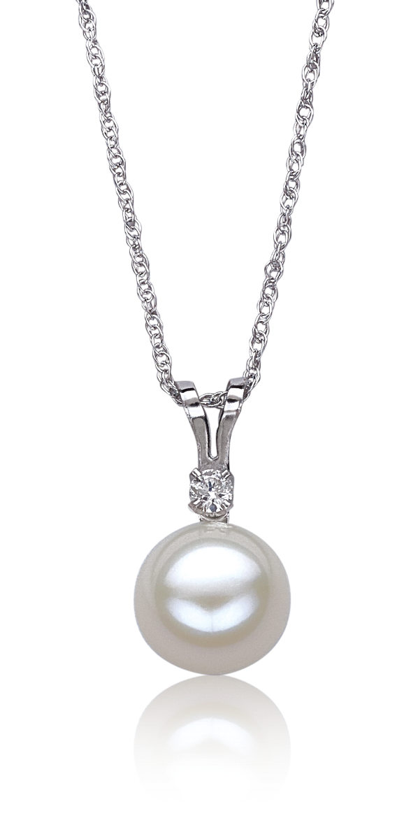 Freshwater Pearl & Diamond Pendant in 10k White Gold