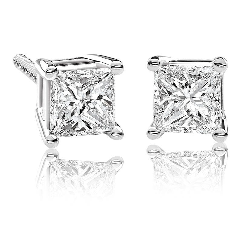 Canadian Diamond™ ¼ctw. Princess-Cut Diamond Earrings in 14k White Gold